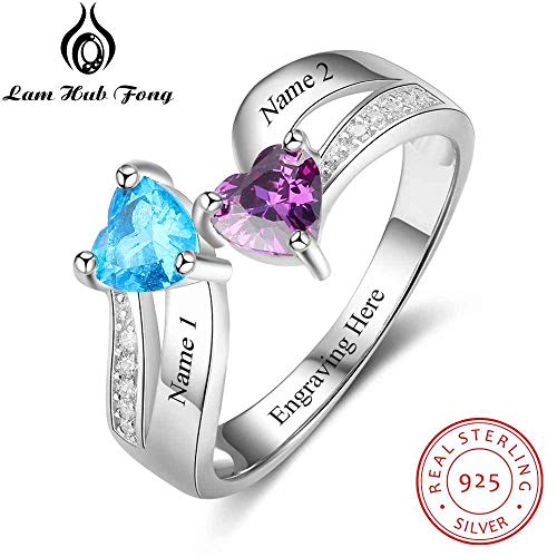 925 Sterling Silver Ring | Heart Birthstone Name Classic Rings Mother's Day for Gift