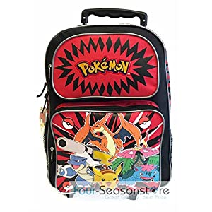 "Pokemon 16"" Red and Black School Rolling Backpack"