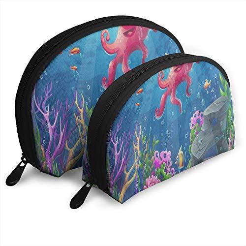 Makeup Bag Beautiful Octopus Coral Reef Portable Half Moon Cosmetic Bags Organizer For Women