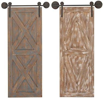 Deco 79 94606 Wooden Barn Door Wall D cor Set of 2 , 20 x 37 , Brown White Cyan Black