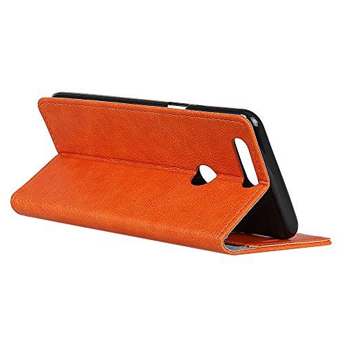 Funda Huawei Enjoy 7S [Happon] Ranuras para Tarjetas y Billetera Carcasa PU Libro de Cuero Flip Leather Cierre Magnético Soporte Plegable para Huawei Enjoy 7S (Rojo) Naranja