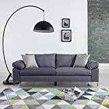 Modern Linen Fabric Sofa Low Profile Living Room Couch (Light Grey)