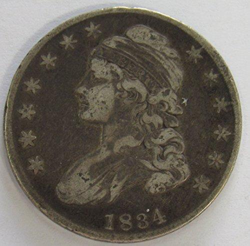 1834 Capped Bust Half Dollar 50c Very Fine O-117 R.2