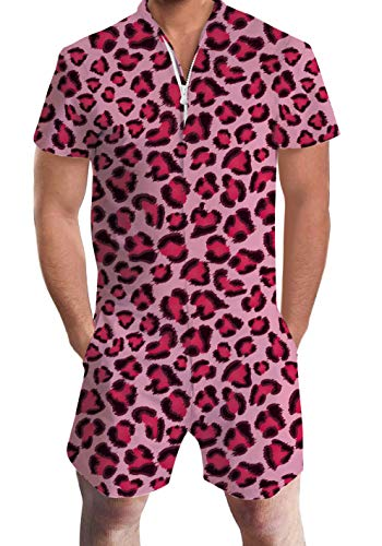 Men's Rompers Male Zipper Jumpsuit Shorts Pink Red Leopard Zebra Printed One Piece Slim Fit Outfits Bro Short Sleeve -