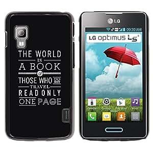 Be Good Phone Accessory // Dura Cáscara cubierta Protectora Caso Carcasa Funda de Protección para LG Optimus L5 II Dual E455 E460 // Book Reading Page Text Black Art Deco