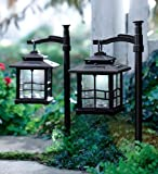 Plow & Hearth Set of 2 LED Solar Lantern with Shepherd's Hook/Ground Stake