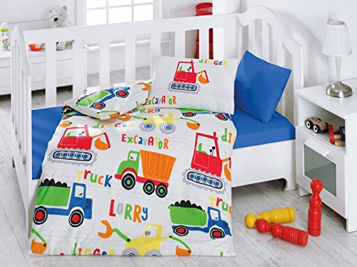 LaModaHome Education Baby Bedding Set, 100% Cotton - Lorry Truck Excavator is on The Work - Set of 4 - Duvet Cover, Flat Sheet and Two Pillowcases for Baby, Toddler Boy Crib Bedding Sets