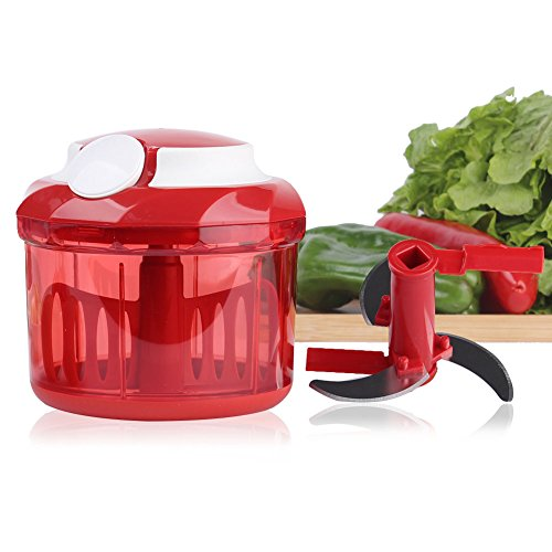 Red Manual Food Chopper with 3 Sharp Blades, Large 4 Cup Portable Vegetable Processor Egg Breaker for Pesto, Salsa, Puree by Valuetools (Veggy Chopper)