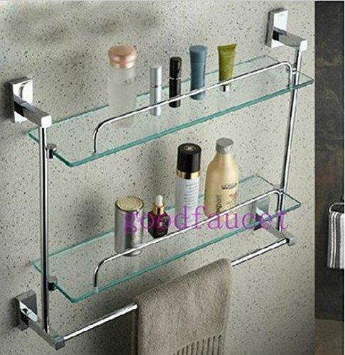GOWE Wall Mounted Chrome Bathroom Shelves Shower Caddy Cosmetic 2 Glass  Shelf With Towel Bar     Amazon.com