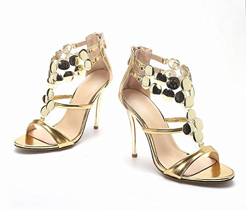Carolbar Mujeres Metal Circular Decorations Zip Sexy Charol Stiletto Heel Dress Sandals Gold