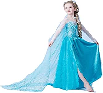 Frozen Princess Elsa Dress Little Girl's Dress Outfit Party Dress Cosplay Costume Sequins Embrodery Mesh Dress (3-4 Years)