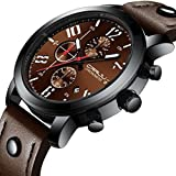 FimKaul Man Multi-function Six Needles Chronograph Watch Leather Strap Run Sports Watch (Brown)