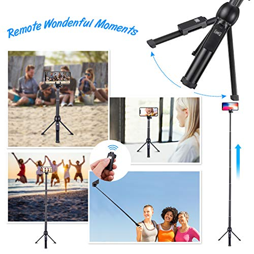 Eocean 45-Inch Selfie Stick Tripod, Extendable Selfie Stick with Wireless Remote Compatible with iPhone Xs/Xr/Xs Max/X/8 Plus/8/ iPhone XR/iPhone XS/iPhone XS Max/7 Plus/Galaxy Note 9/S9/S9 Plus/GoPro by Eocean (Image #6)