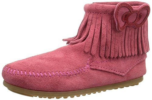 Minnetonka Girl's Childrens for Hello Kitty Fringe Boot Hot Pink Suede 4 M