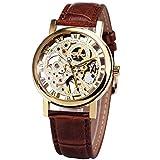 Caluxe 2017 BEST SALE Men Unisex Golden Mechanical Watches Brown Leather Strap Luminous Hands Classic Skeleton Collection