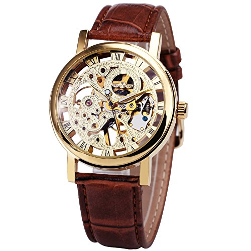 Caluxe Men Luxury Classic Skeleton Mechanical Watches Brown Leather Strap Luminous Hand-Wind Golden Wrist Watches