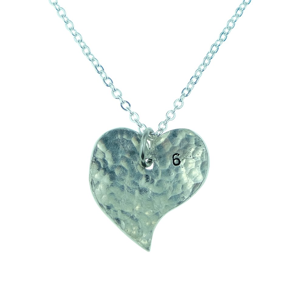 6th Year Anniversary Heart Necklace - Great 6th Anniversary Gift for Your Wife