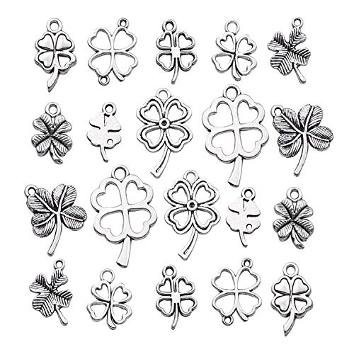 iloveDIYbeads 80pcs Craft Supplies Antique Silver Four Leaf Clover Charms Pendants for Crafting, Jewelry Findings Making Accessory for DIY Necklace Bracelet M191