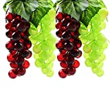 grapes decoration - DYWISHKEY Artificial Green & Purple Grape (4 Bunches)