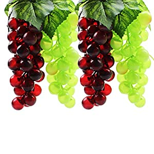 DYWISHKEY Artificial Green & Purple Grape (4 Bunches) 107