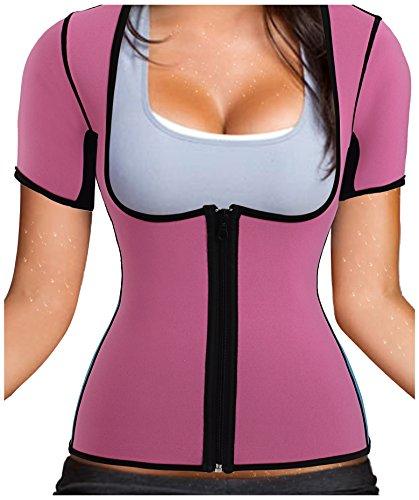 Gotoly Women Neoprene Zipper Front Hot Sweat Slimming Shirt Vest Body Shapers (2XL fit (US 24W), Pink)