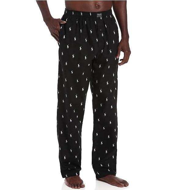 f62e0a81cd Polo Ralph Lauren Men s Big PJ Pants Black White Polo Player Pajama Bottoms