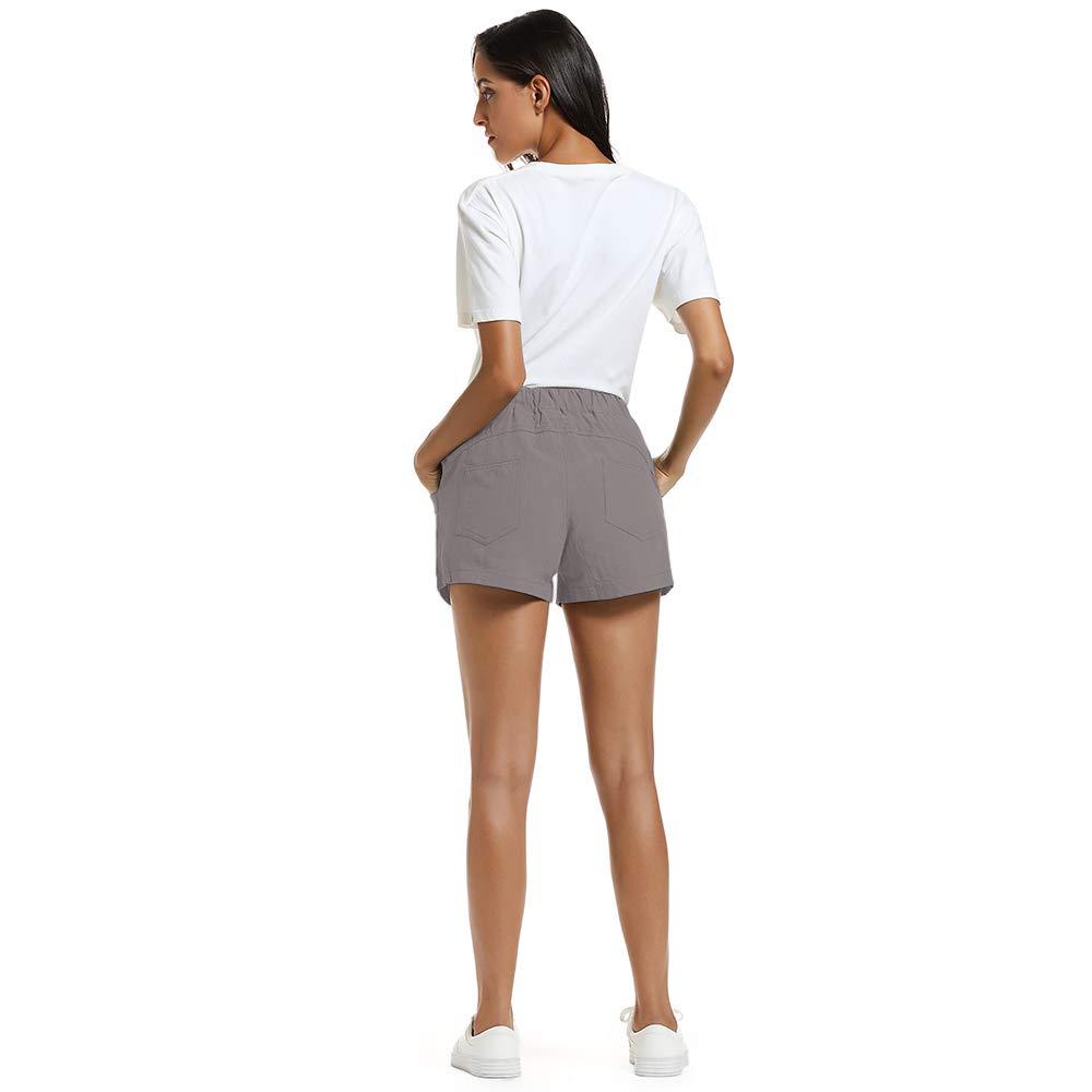 NEWFANGLE Women\'s Cotton Linen Causal Shorts Comfy Beach Short Drawstring Elastic Waist Shorts,Gray,L