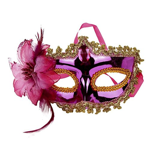 [SUPPION Halloween Costume Women Masks Venetian Masquerade Prom Party Sexy Mask (Hot Pink)] (Female Pink Panther Costume)