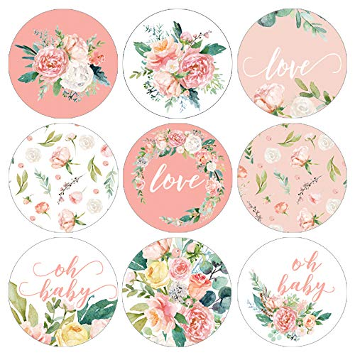 Pink Floral Baby Shower Favor Labels | 180 Stickers