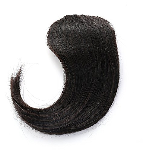 Rosette Hair 100% Human Hair Side-Swept Clip in Hair Bangs - Easy Clip on Hair Extensions Weave Unprocessed Hair Weft (Black)