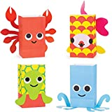 Pack of 96 Juvi French Bull Ocean Paper Treat Bags with Attachments 8.5""