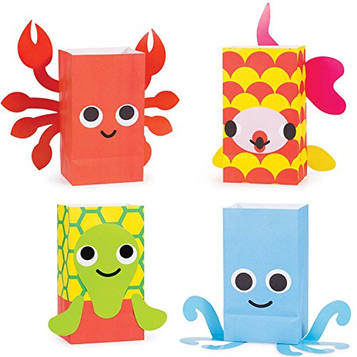 "Pack of 96 Juvi French Bull Ocean Paper Treat Bags with Attachments 8.5"" by Party Central"
