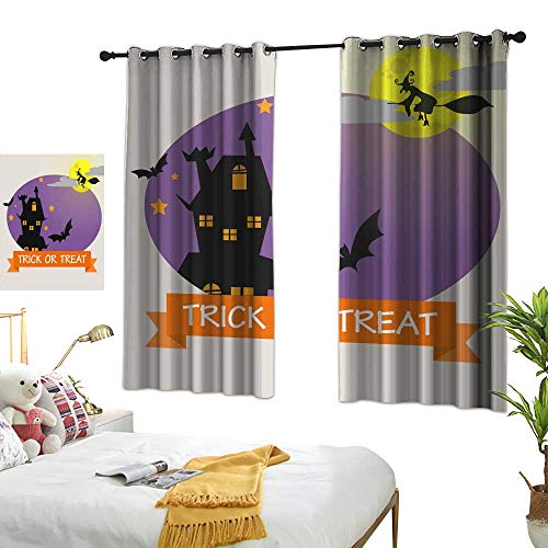 wwwhsl Superior Room Bedroom Curtains Halloween Background with Lovely Costumes Summer Blackout Curtain Polyester Bedroom Living Room W84.2 xL72