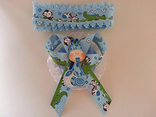 Baby Shower Mom To Be It's a Boy Sash Blue Giraffe Safari Ribbon Corsage Noah's by PRODUCT 789 (Image #1)