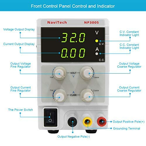30V 5A DC Bench Power Supply Variable, 3-Digital LED Display, Switching Power Supply with Free Alligator Clip US Power Cord