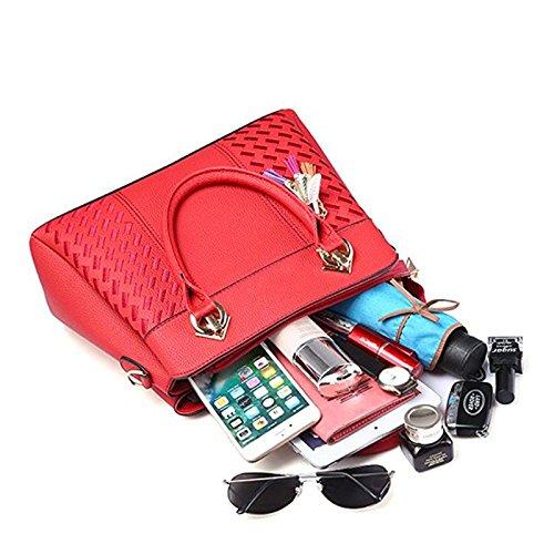 Ladies Bags Red Vincico Handbags Wine Women Purse Shoulder Designer Bag for Faux Satchel Leather Tote 544q8