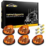 Partsam 5X Cab Marker Light Marker 1313A Amber Lens + 5X Amber T10 LED Bulbs + Base Compatible with Chevrolet/GMC/Dually Suburban Blazer C1500 C2500 C3500 K1500 K2500 K3500 1969-1987 Pickup Trucks