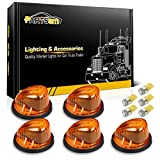 Partsam 5x Cab Marker Clearance Light Marker 1313A Amber Lens + 5x Amber T10 LED Bulbs + Base Replacement For 1969-1987 GMC Chevy C/K Series Pickup Trucks Dually Suburban Blazer