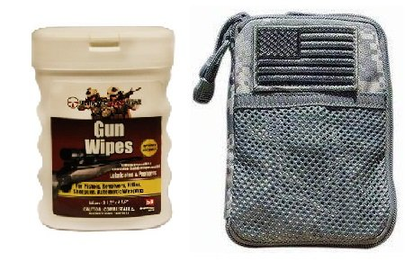 Ultimate Arms Gear Wipe Cleaning Field Combo: ACU Army Digital Camouflage Molle Utility Wallet Carry Holder Case + USA Flag Velcro Patch + Gun Wipes Cloth Patches Cleaner Lubricanting by Ultimate Arms Gear