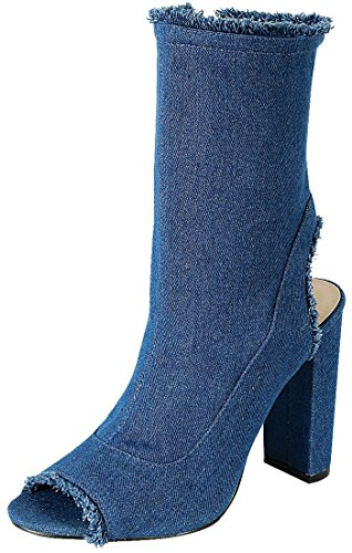 Forever Link Women's Distressed Frayed Denim Peep Toe Mid Calf Boot (7 B(M) US, Light Blue Denim)