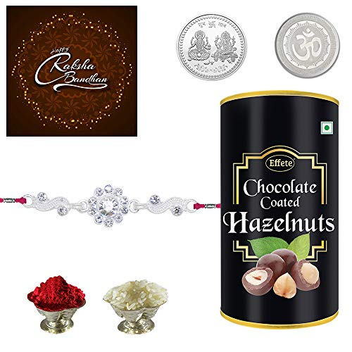 Rakshbandhan Special Rakhi Combo - Fancy Crystal Diamond Rakhi Silver Color / Plated Rakhi / Silver Rakhi (Q1R_Y2_B_P32) with Chocolate Combo, Roli chawal, Pooja Coin & Greeting card | Rakhi with chocolates | Rakhi gift for brother | Rakhi gift chocolate for brother | Rakhi low price | Rakhi thali | Rakhi veera | Rakhi roli chawal | Rakhi with gift | (B07VDTDGDJ) Amazon Price History, Amazon Price Tracker