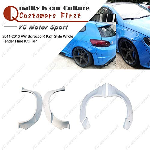 (Mudguards FRP Fiber Glass KZT Style Whole Fender Kit 9pcs Fit For 2011-2013 Volkswagen Scirocco R Front & Rear Over Fender Flare)