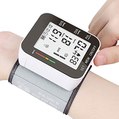Blood Pressure Monitor Accurate Automatic Large LCD Display & Adjustable Wrist Cuff Automatic Accurate 90 * 2 Reading Memory for Home Use