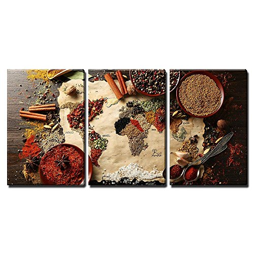 World MAPE Made from Spices Wall Decor x3 Panels