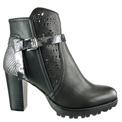 Angkorly - Chaussure Mode Bottine cavalier chic plateforme femme peau de serpent perforée lanière Talon haut bloc 8 CM - Noir