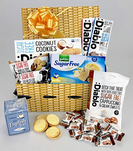 Deluxe Diabetic Hamper No Added Sugar - Coffee Tea Cookies, Sweets Chocolate - Any Occasion Personalise Unique Gift - Female or Male - His Hers