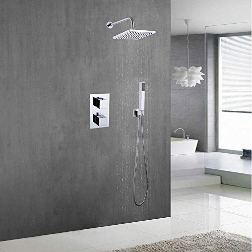 SDRFSWE Shower System Wall Mounted Set Concealed Faucet Brass Switch Thermostatic Mixer Valve + 8