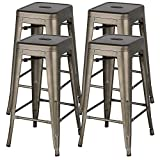Bar Height Bar Stools Yaheetech 30 inches Metal Bar Stools High Backless Bar Height stools Stackable Chairs,Set of 4,Metal