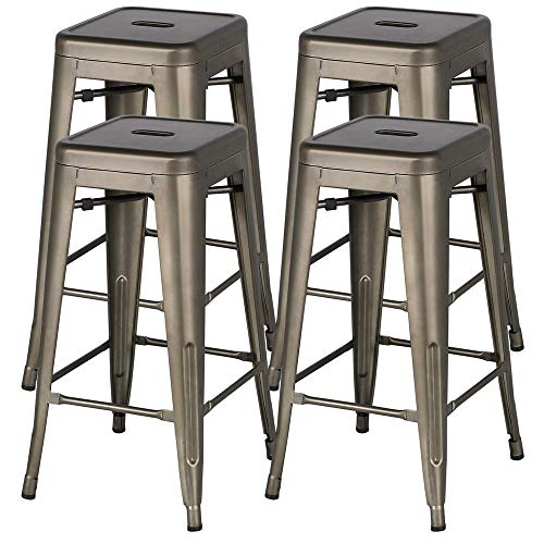 Yaheetech 30 inches Metal Bar Stools High Backless Bar Height stools Stackable Chairs,Set of 4,Metal (High Bar 30 Stools Inch)