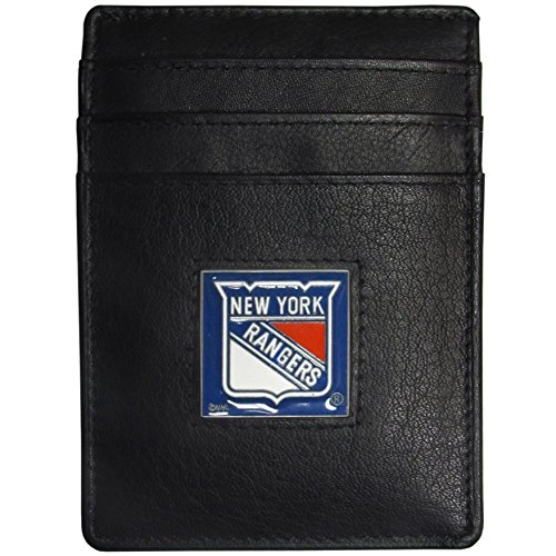 - NHL New York Rangers Leather Money Clip/Cardholder Packaged in Gift Box, Black